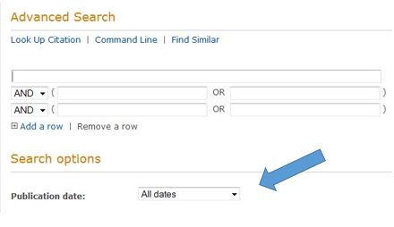 Date Selector on Advanced Search Page