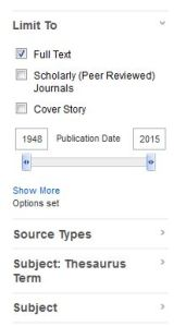 Limiters from EBSCO search