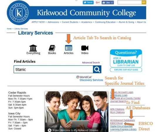Library Homepage With Labels