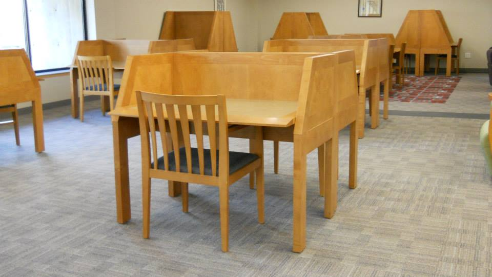 Some of the second floor study carrels to help you isolate yourself for quiet study