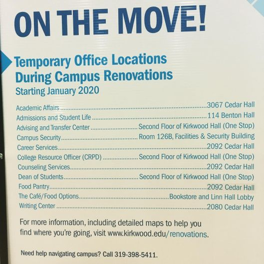 A list of offices moving during construction